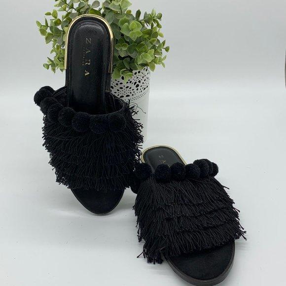 Zara Slip On Fringe Pom Pom's Gold Sandal Slipper